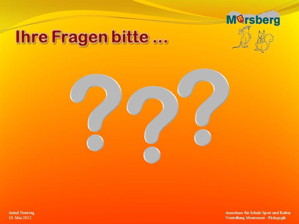 Ihre Fragen bitte … Astrid Nentwig, 10. Mai 2012