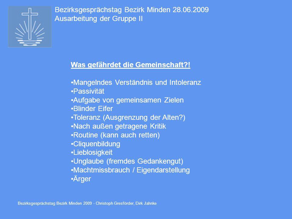 Bezirksgesprächstag Bezirk Minden 28.06.2009