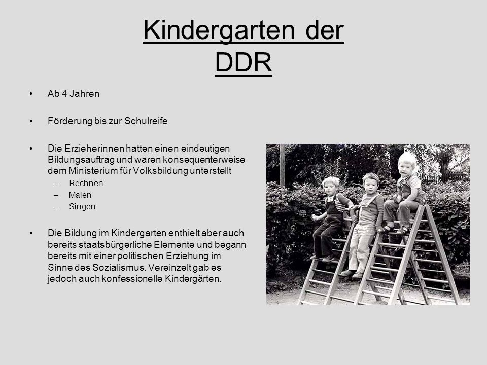 Kindergarten der DDR Ab 4 Jahren Förderung bis zur Schulreife