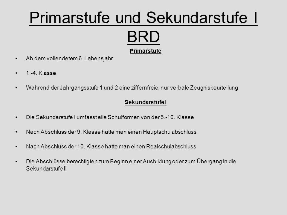 Primarstufe und Sekundarstufe I BRD