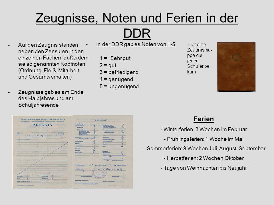 Zeugnisse, Noten und Ferien in der DDR