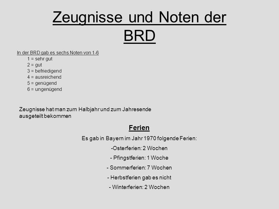 Zeugnisse und Noten der BRD