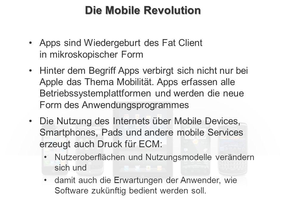 Die Mobile Revolution Apps sind Wiedergeburt des Fat Client in mikroskopischer Form.