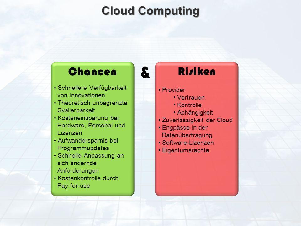 & Cloud Computing Chancen Risiken Schnellere Verfügbarkeit Provider