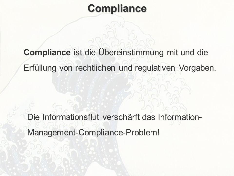 Compliance Compliance ist die Übereinstimmung mit und die Erfüllung von rechtlichen und regulativen Vorgaben.