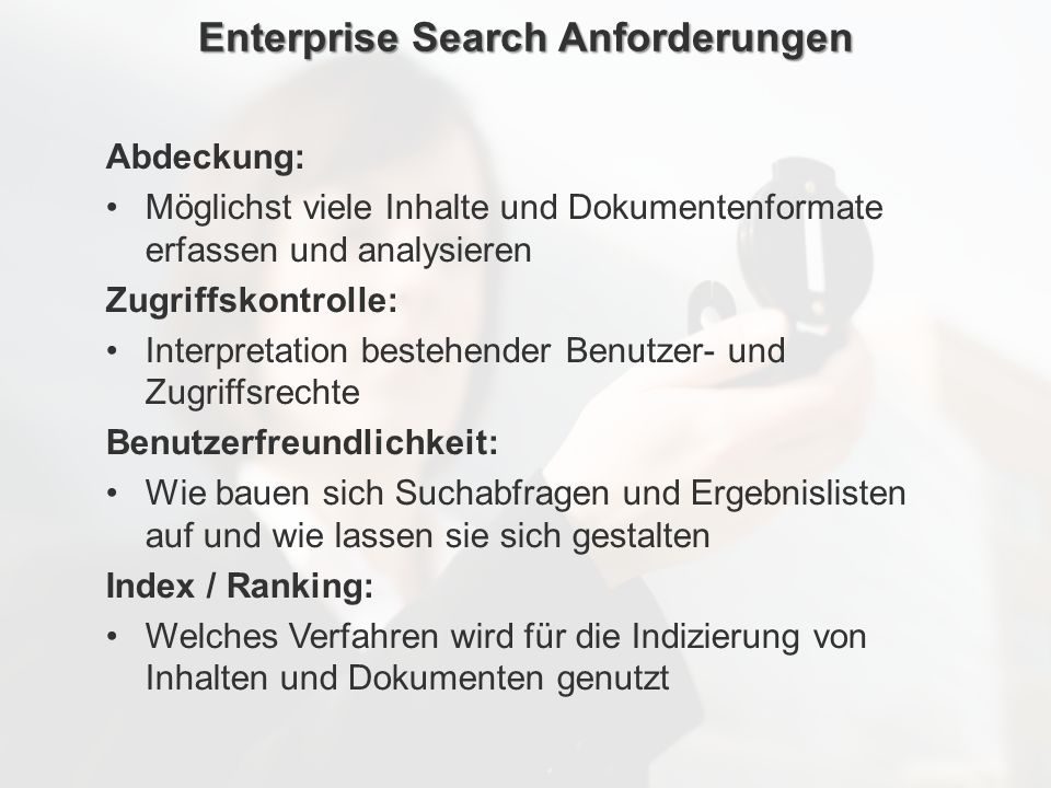 Enterprise Search Anforderungen