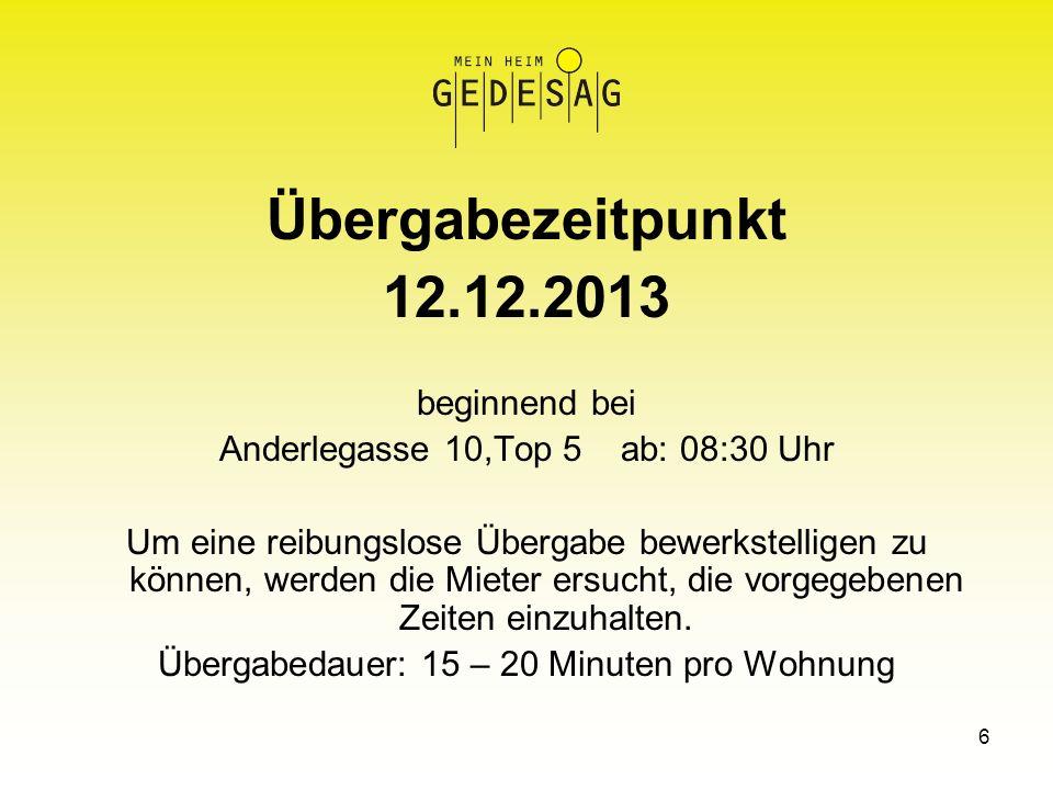 Übergabezeitpunkt 12.12.2013 beginnend bei