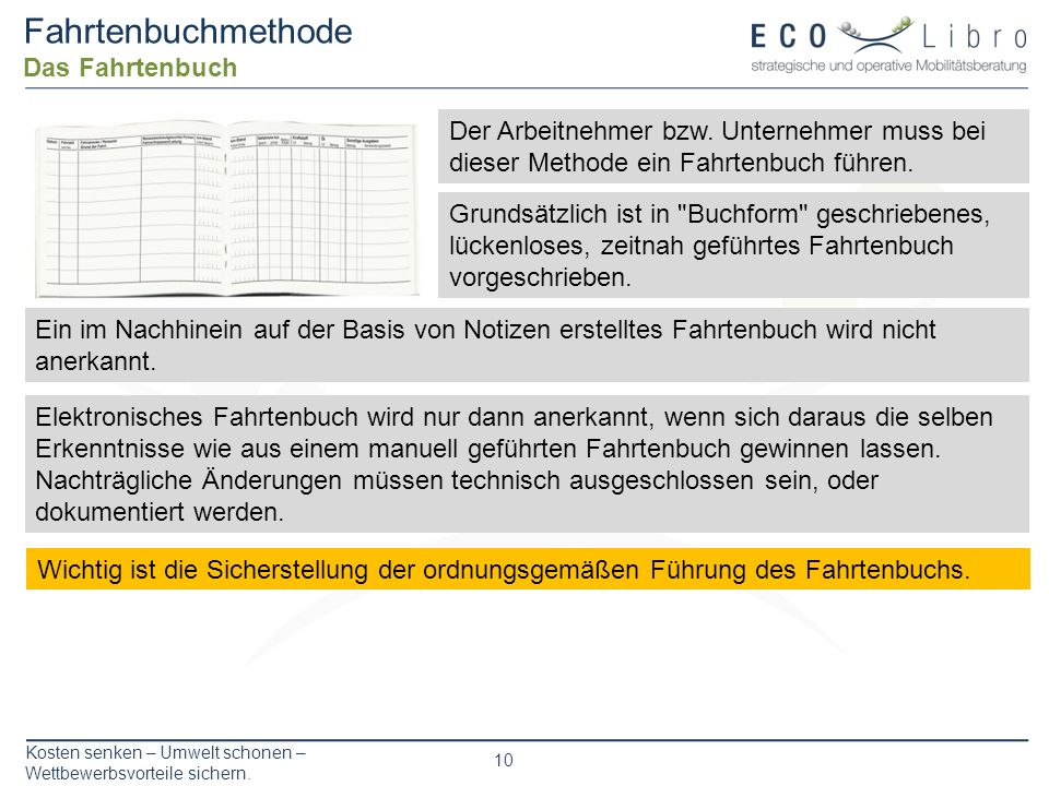 Fahrtenbuchmethode Das Fahrtenbuch