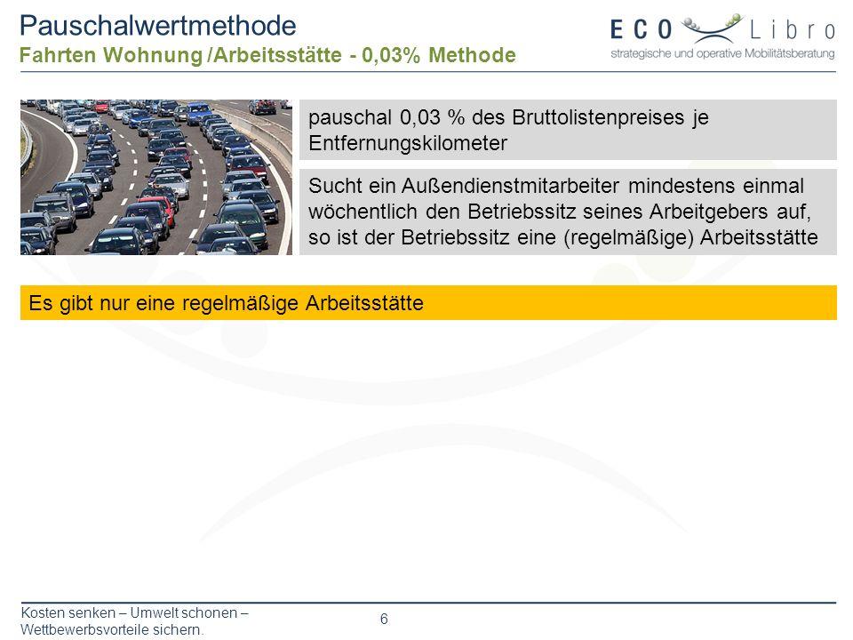 Pauschalwertmethode Fahrten Wohnung /Arbeitsstätte - 0,03% Methode