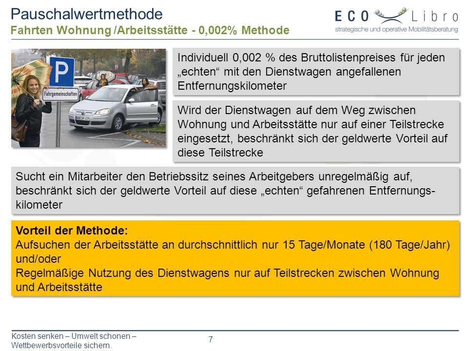 Pauschalwertmethode Fahrten Wohnung /Arbeitsstätte - 0,002% Methode