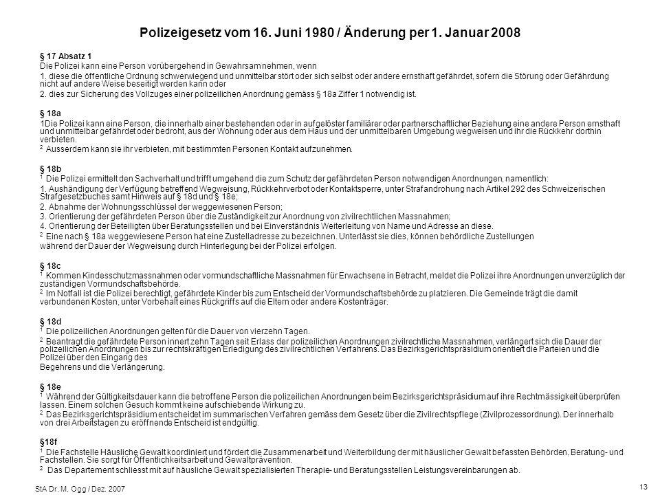 Polizeigesetz vom 16. Juni 1980 / Änderung per 1. Januar 2008