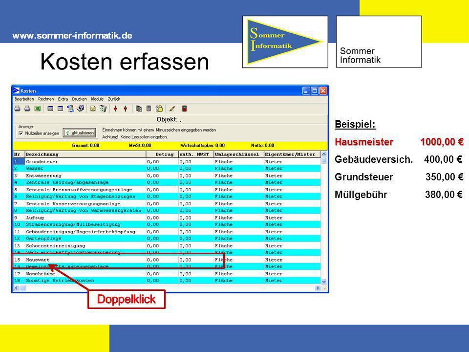 Kosten erfassen Doppelklick Beispiel: Hausmeister 1000,00 €