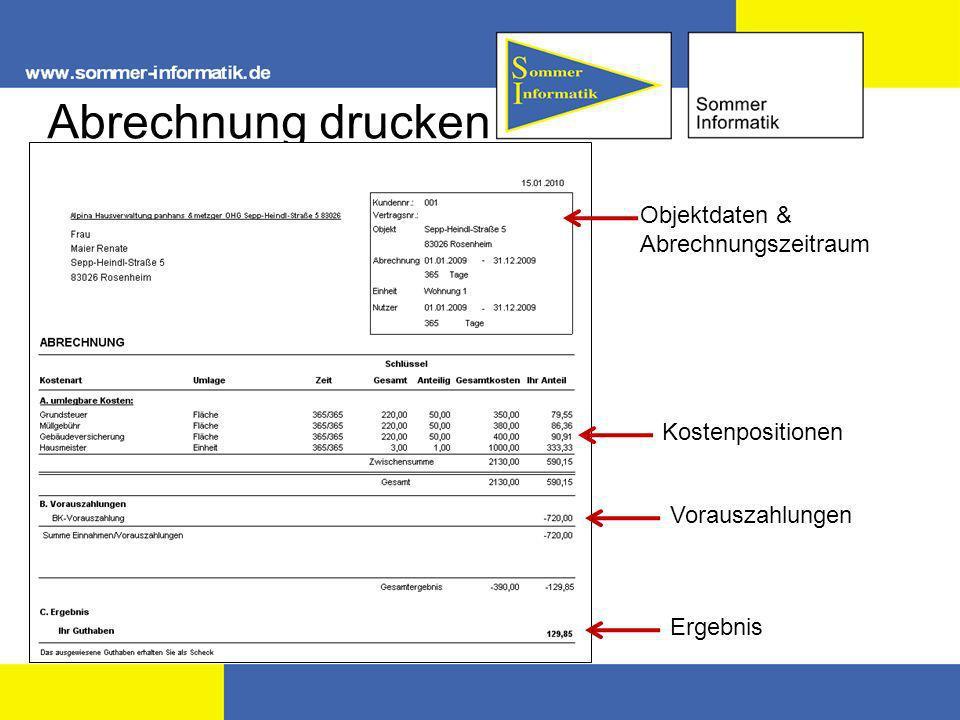 Abrechnung drucken Objektdaten & Abrechnungszeitraum Kostenpositionen