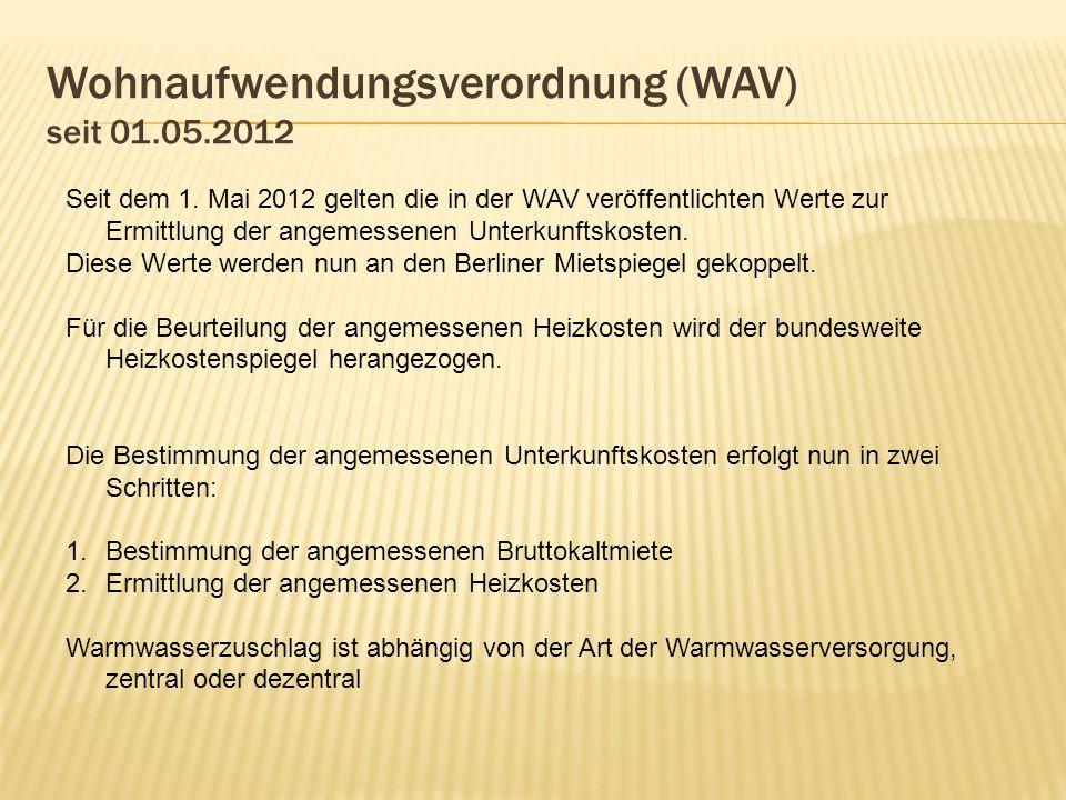Wohnaufwendungsverordnung (WAV) seit 01.05.2012