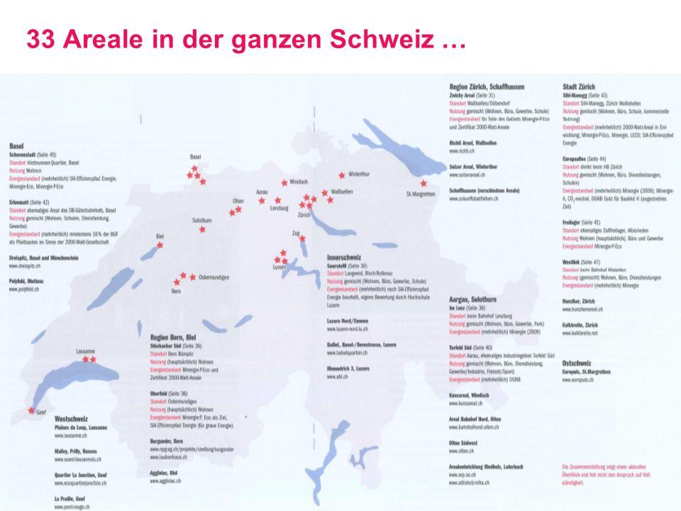 33 Areale in der ganzen Schweiz …