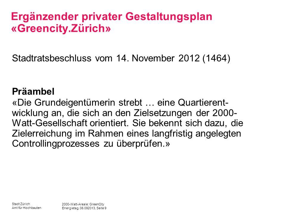 Ergänzender privater Gestaltungsplan «Greencity.Zürich»