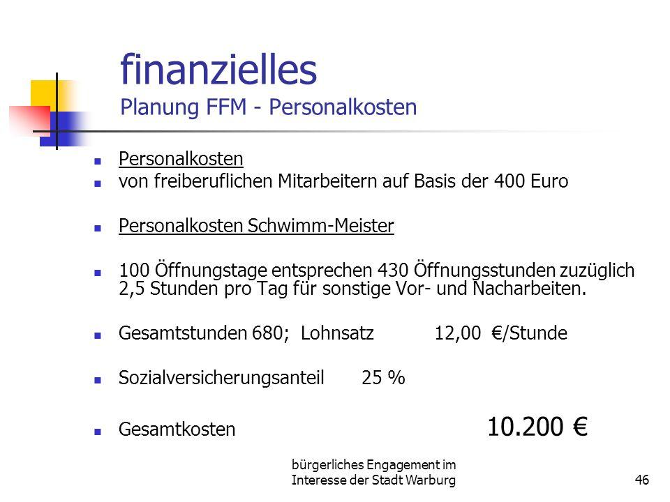 finanzielles Planung FFM - Personalkosten