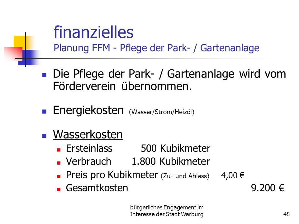 finanzielles Planung FFM - Pflege der Park- / Gartenanlage