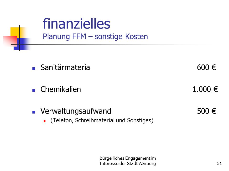 finanzielles Planung FFM – sonstige Kosten