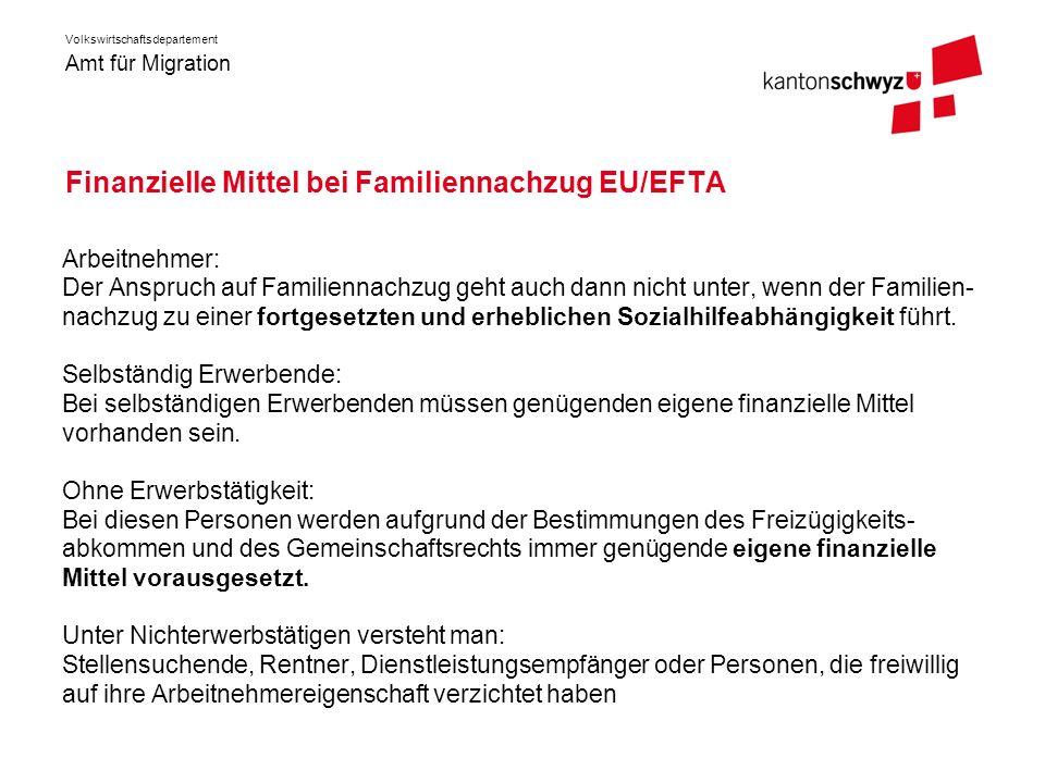 Finanzielle Mittel bei Familiennachzug EU/EFTA