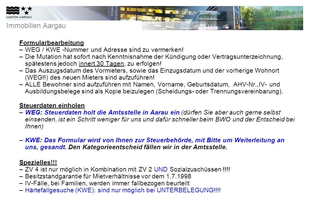 Formularbearbeitung WEG / KWE -Nummer und Adresse sind zu vermerken!