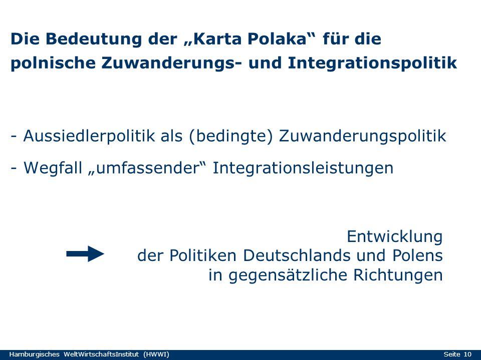 - Aussiedlerpolitik als (bedingte) Zuwanderungspolitik