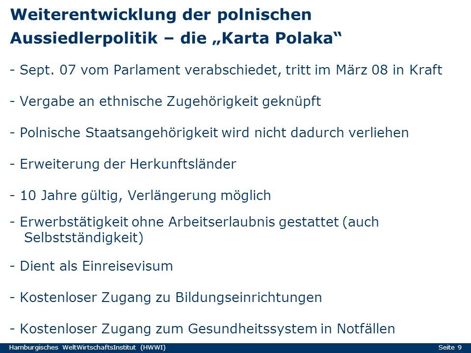 """Weiterentwicklung der polnischen Aussiedlerpolitik – die """"Karta Polaka"""