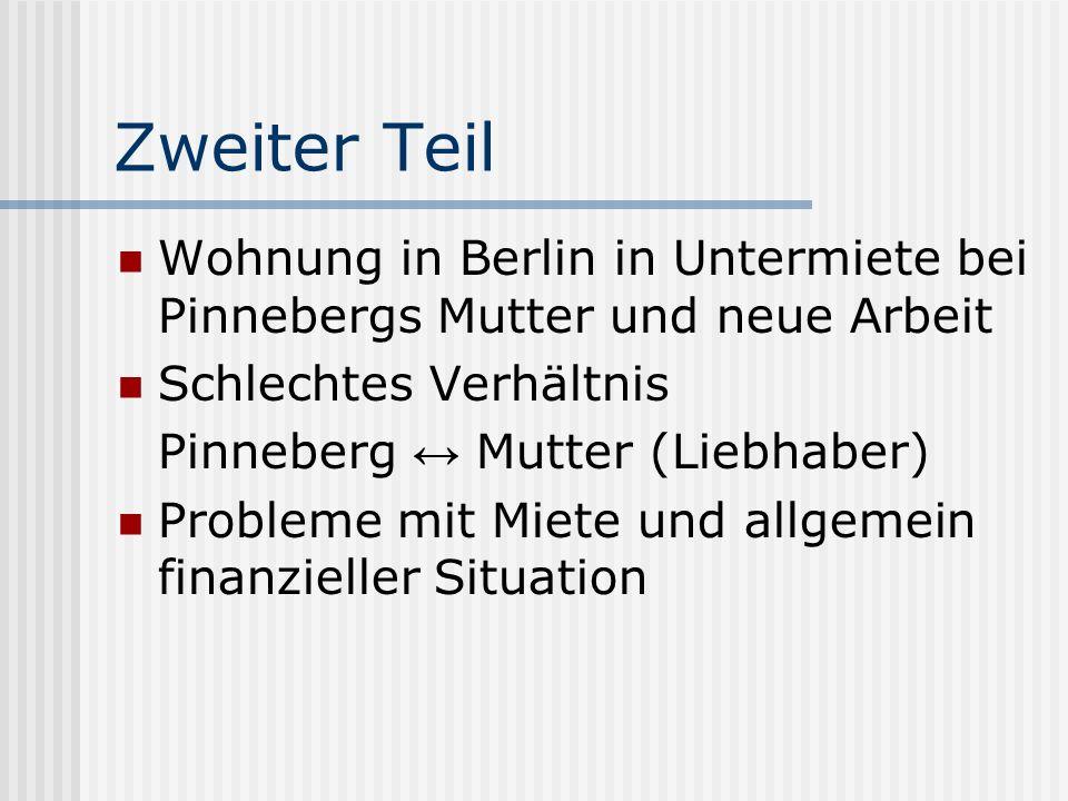 Zweiter Teil Wohnung in Berlin in Untermiete bei Pinnebergs Mutter und neue Arbeit. Schlechtes Verhältnis.
