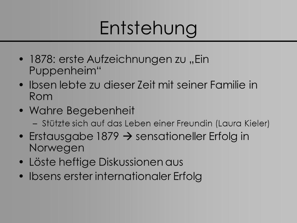 """Entstehung 1878: erste Aufzeichnungen zu """"Ein Puppenheim"""