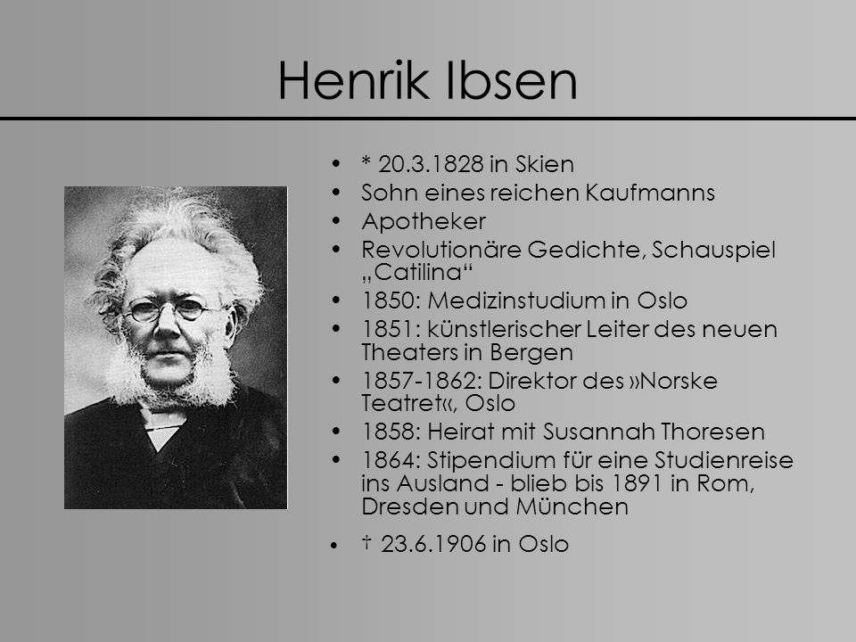Henrik Ibsen * 20.3.1828 in Skien Sohn eines reichen Kaufmanns