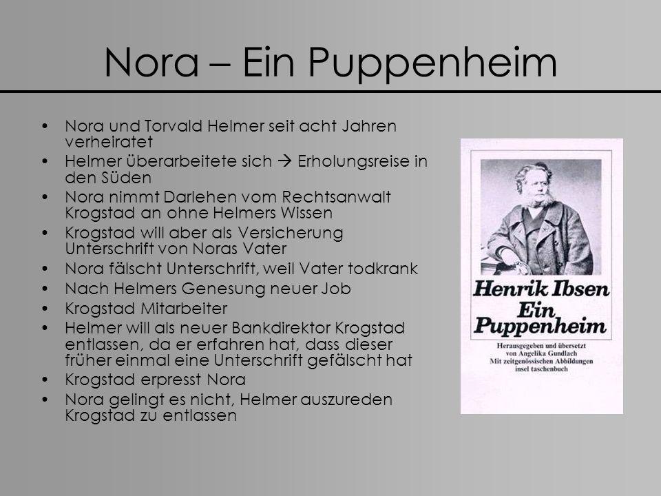 Nora – Ein Puppenheim Nora und Torvald Helmer seit acht Jahren verheiratet. Helmer überarbeitete sich  Erholungsreise in den Süden.
