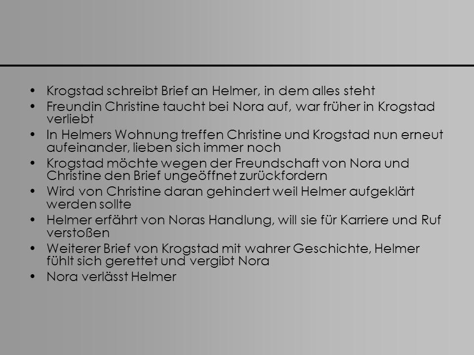Krogstad schreibt Brief an Helmer, in dem alles steht