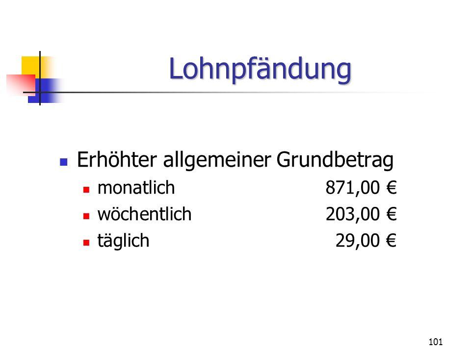 Lohnpfändung Erhöhter allgemeiner Grundbetrag monatlich 871,00 €