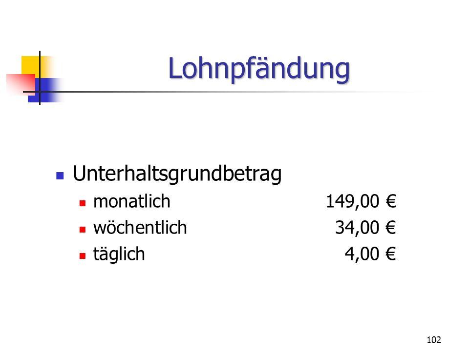 Lohnpfändung Unterhaltsgrundbetrag monatlich 149,00 €