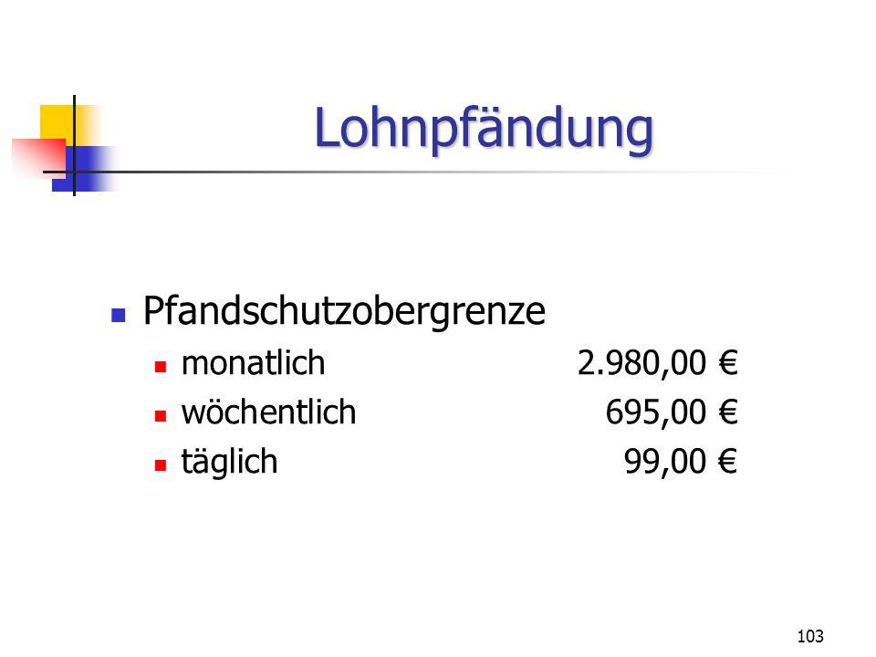 Lohnpfändung Pfandschutzobergrenze monatlich 2.980,00 €