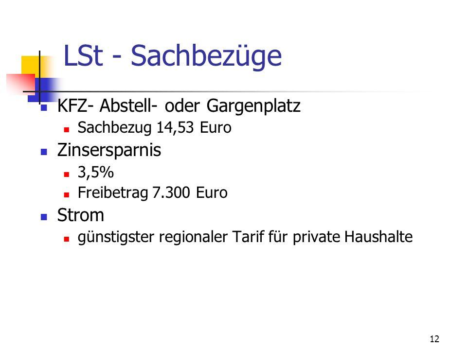 LSt - Sachbezüge KFZ- Abstell- oder Gargenplatz Zinsersparnis Strom