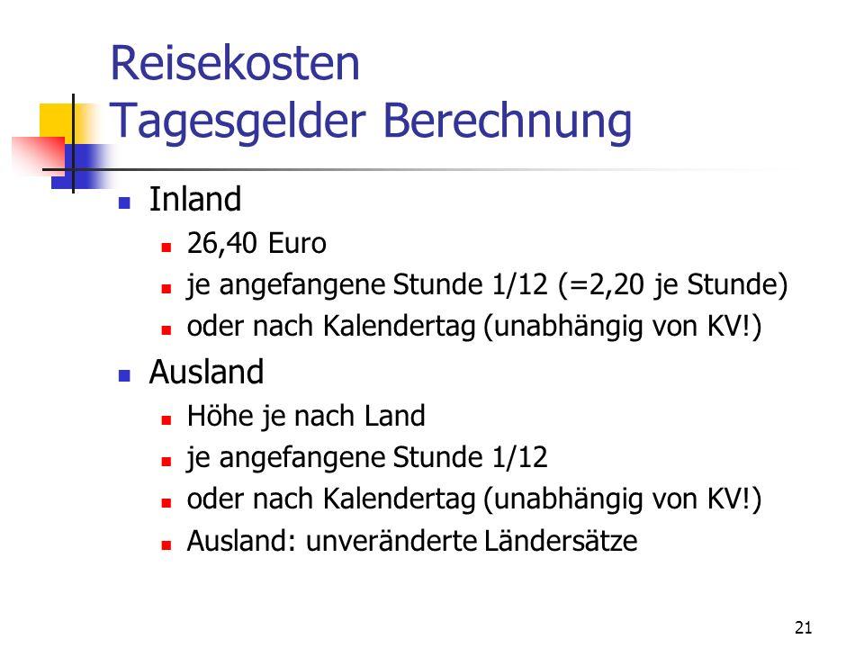 Reisekosten Tagesgelder Berechnung