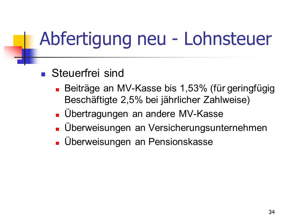Abfertigung neu - Lohnsteuer