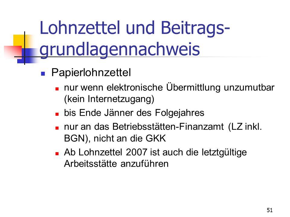 Lohnzettel und Beitrags-grundlagennachweis