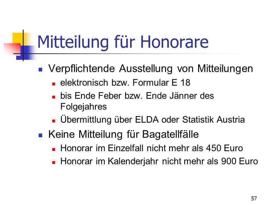 Mitteilung für Honorare