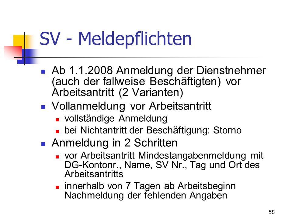 SV - Meldepflichten Ab 1.1.2008 Anmeldung der Dienstnehmer (auch der fallweise Beschäftigten) vor Arbeitsantritt (2 Varianten)