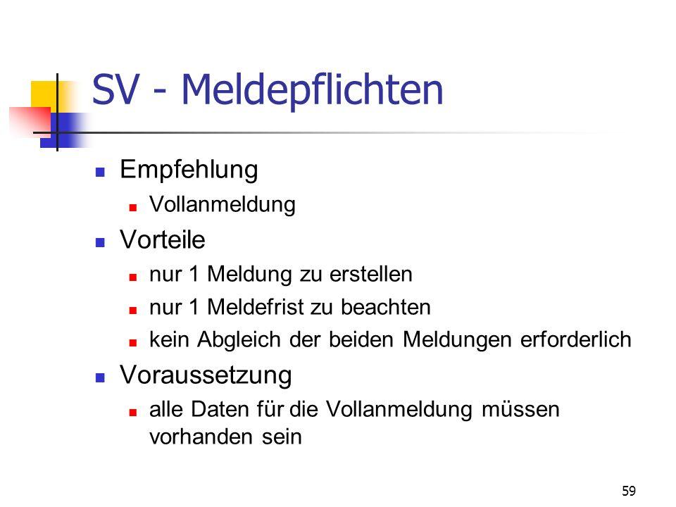 SV - Meldepflichten Empfehlung Vorteile Voraussetzung Vollanmeldung