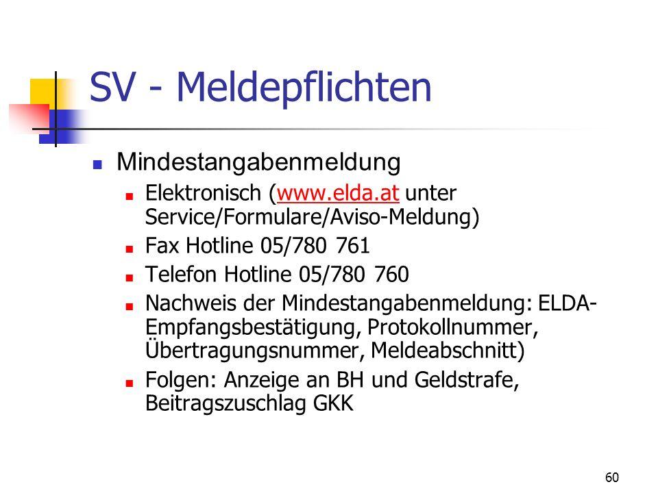 SV - Meldepflichten Mindestangabenmeldung