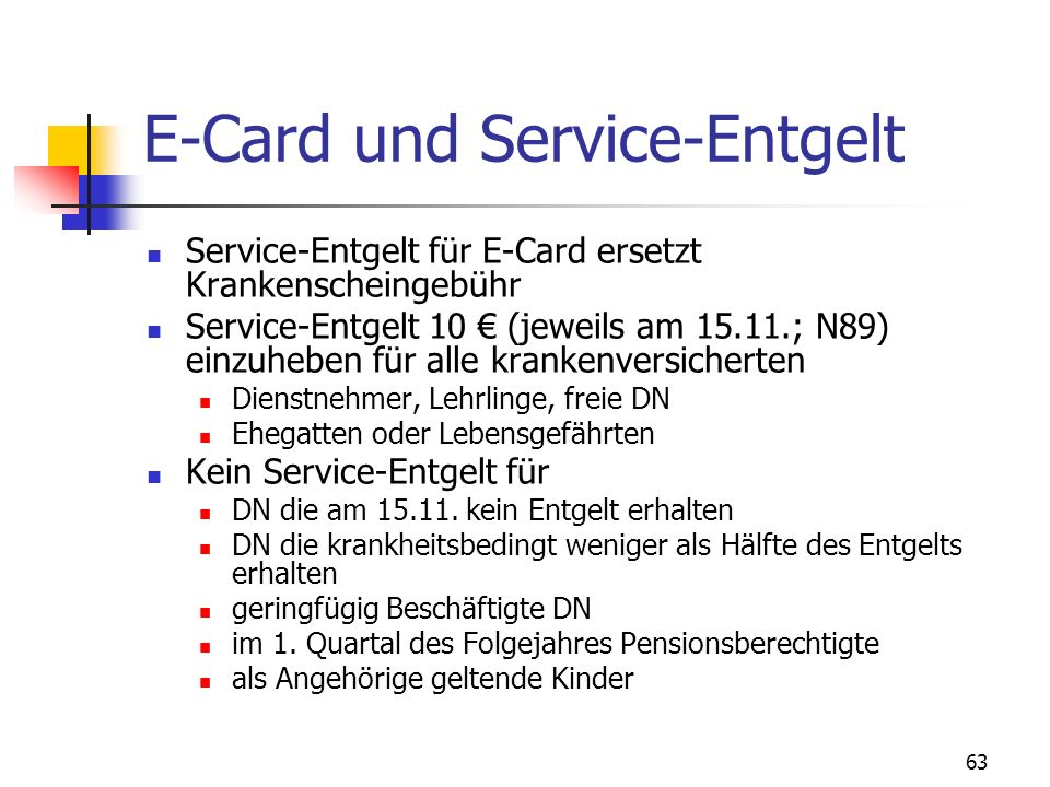 E-Card und Service-Entgelt