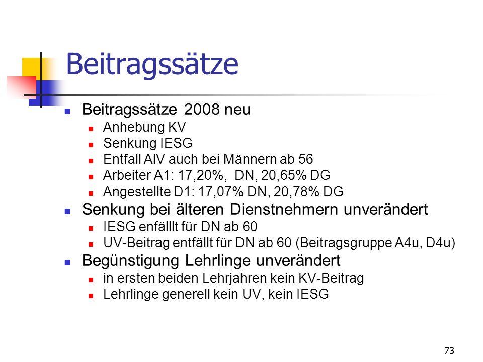 Beitragssätze Beitragssätze 2008 neu