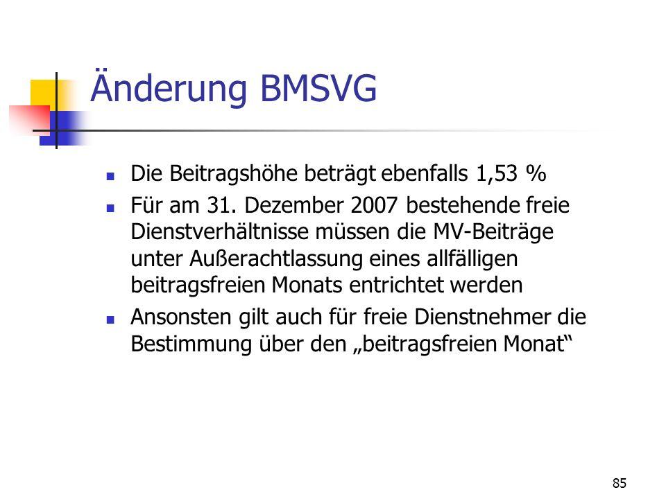 Änderung BMSVG Die Beitragshöhe beträgt ebenfalls 1,53 %