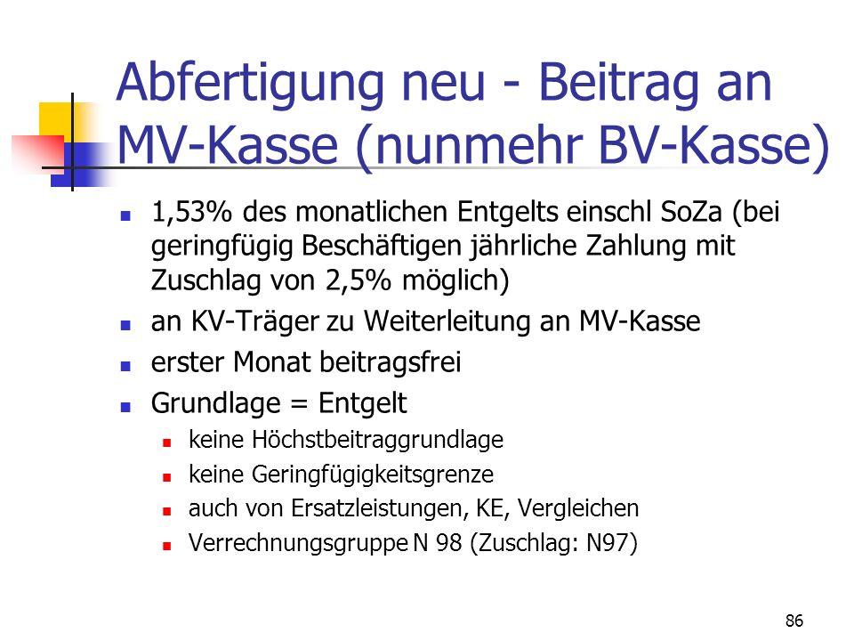 Abfertigung neu - Beitrag an MV-Kasse (nunmehr BV-Kasse)
