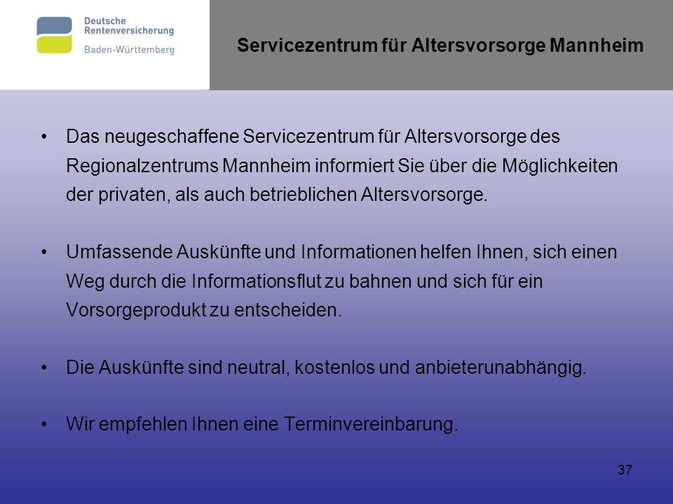 Servicezentrum für Altersvorsorge Mannheim