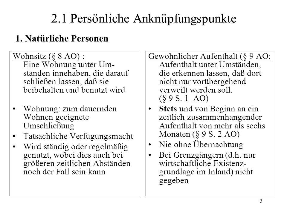 2.1 Persönliche Anknüpfungspunkte
