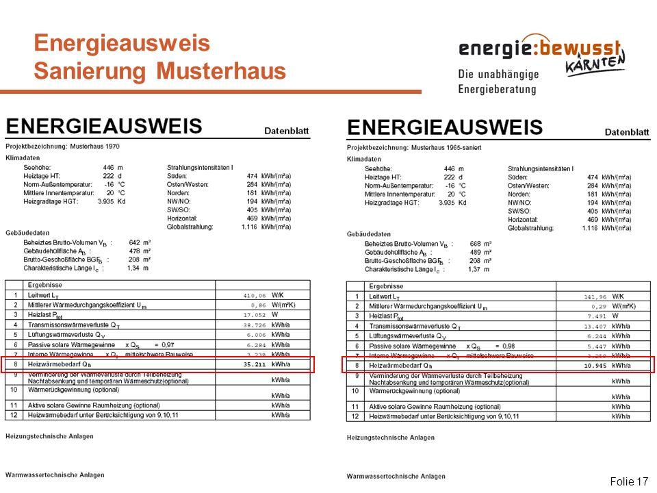 Energieausweis Sanierung Musterhaus